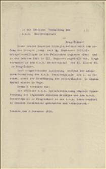 Pismo do szpitala wojskowego w Pradze-Żiżkowie w sprawie przeniesienia rannego legionisty Henryka Brykajło z Pragi do szpitala w Cieszynie - 3.12.1915
