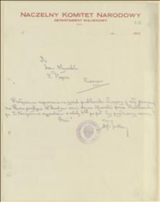 Pismo Aleksandra Rutkowskiego do Tadeusza Regera w sprawie terminu wyjazdu na zjazd piotrkowski