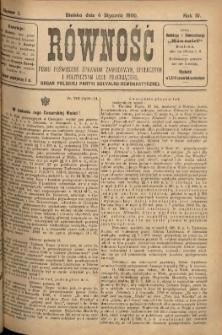 Równość, 1900, Nry 1-45