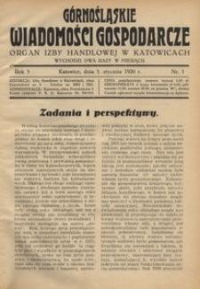 Górnośląskie Wiadomości Gospodarcze, 1926, R. 3, nr 1