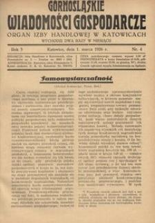 Górnośląskie Wiadomości Gospodarcze, 1926, R. 3, nr 4
