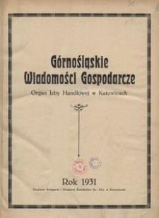 Górnośląskie Wiadomości Gospodarcze, 1931, R. 8, nr 1