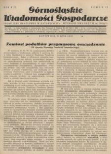Górnośląskie Wiadomości Gospodarcze, 1931, R. 8, nr 13