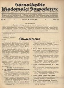 Górnośląskie Wiadomości Gospodarcze, 1934, R. 11, nr 23