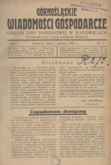 Górnośląskie Wiadomości Gospodarcze, 1924, R. 1, nr 1