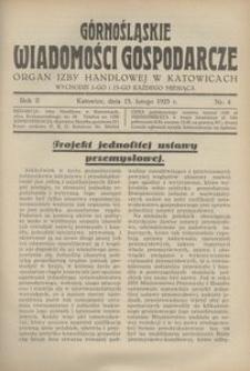 Górnośląskie Wiadomości Gospodarcze, 1925, R. 2, nr 4