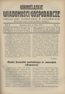 Górnośląskie Wiadomości Gospodarcze, 1925, R. 2, nr 9