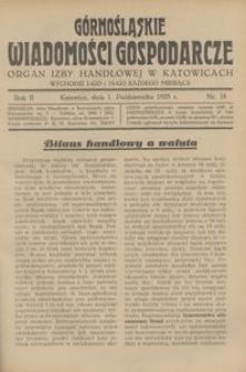 Górnośląskie Wiadomości Gospodarcze, 1925, R. 2, nr 18