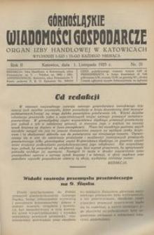 Górnośląskie Wiadomości Gospodarcze, 1925, R. 2, nr 21