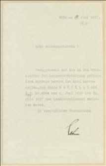 Decyzja Ministerstwa Obrony Krajowej w Wiedniu z 19.07.1917 o powołaniu Alojzego Nardelli do służby wojskowej w rezerwie na okres 08.06.-31.07.1917