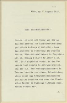 Decyzja Ministerstwa Obrony Krajowej z 08.08.1917 o przeniesieniu Wiktora Doleżala z pracy w Hucie w Trzyńcu do fabryki chemicznej w Sokolowie