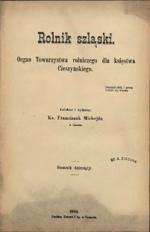 Rolnik Szląski, 1894, Nry 1-24