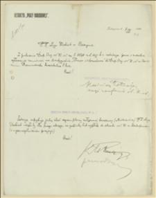 """Pismo redakcji """"Pracy Narodowej"""" do Departamentu Organizacyjnego NKN w Oświęcimiu z 07.06.1915 w sprawie zgłoszenia zamówień na dwutygodnik """"Praca Narodowa"""" oraz na broszury"""
