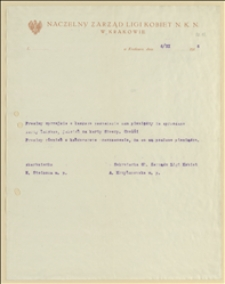 Pismo Naczelnego Zarządu Ligi Kobiet NKN w Krakowie z 06.11.1915 w sprawie przesłania pieniędzy ze sprzedaży kart żałobnych