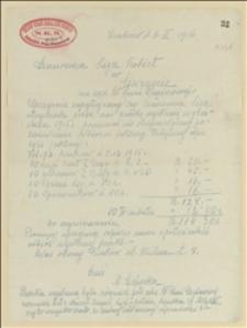 List Sklepu Krakowskiego Koła Ligi Kobiet NKN z 6.3.1916 do Michaliny Regerowej w sprawie potwierdzenia odbioru otrzymanej paczki