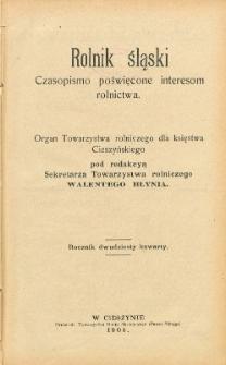 Rolnik Śląski, 1908, Nry 1-24