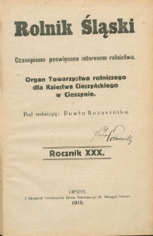 Rolnik Śląski, 1915, Nry 1-12