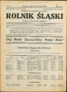 Rolnik Śląski, 1928, Nry 1-41, 43-52/53