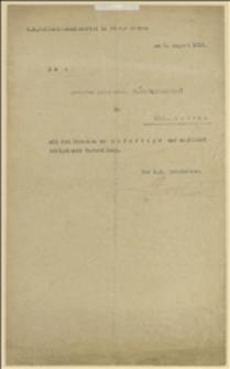Pismo Komisariatu Policji w Morawskiej Ostrawie do Polskiego Komitetu Uciekinierów w Morawskiej Ostrawie - 02.08.1915