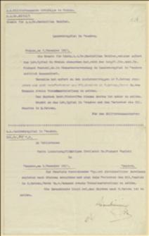 Pismo k.k. Militärkommando Landwehrgruppe in Krakau do Szpitala Wojskowego w Cieszynie w sprawie przeniesienia doktora M. Seidlera do Krakowa, a doktora R. Kunickiego do Cieszyna - Kraków, 04.12.1917, Cieszyn, 05.12.1917
