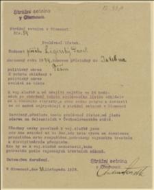 """Pismo """"Strání setniny v Olomouci"""" powołujące Pawła Ligińskiego? z Istebnej do służby wojskowej w Ołomuńcu - 30.11.1918"""