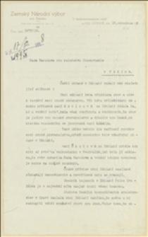 Pismo Zemského Národního výboru pro Slezsko do Rady Narodowej Księstwa Cieszyńskiego dotyczące stosunków etnicznych na Śląsku Cieszyńskim, 16.12.1918