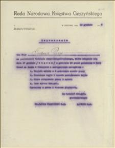 Zaproszenie na posiedzenie Wydziału Socjalno-Politycznego Rady Narodowej Księstwa Cieszyńskiego dla Tadeusza Regera, 13.12.1918