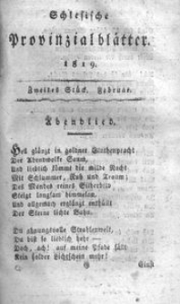Schlesische Provinzialblätter, 1819, 69. Bd. 2. St.: Februar