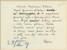 Notatka Tadeusza Regera do Piotrowskiego dotycząca konieczności pracy w sobotę w kopalni Silesia w Czechowicach, w związku ze strajkiem w Zagłębiu Ostrawsko -Karwińskim, Cieszyn, 28.02.1919