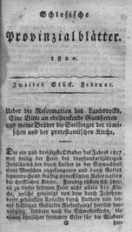 Schlesische Provinzialblätter, 1820, 71. Bd. 2. St.: Februar