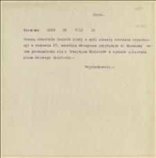 Tekst telegramu dotyczący spraw organizacyjnych wizyty w Warszawie delegacji działaczy socjalistycznych ze Śląska Cieszyńskiego