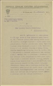 Pismo Komisji Szkolnej Księstwa Cieszyńskiego do Prezydium Rady Narodowej Księstwa Cieszyńskiego dotyczące napadu w dniu 27.10.1919 żandarmów czeskich na szkołę ludową w Stonawie, Cieszyn, 29.10.1919