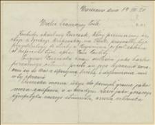 List polecający Bronisława Czapora z Wieliczki do Tadeusza Regera w sprawie kontrolera skarbowego Zoszczaka z Jęzora koło Szczakowej, który przeniesiony został do służby skarbowej w Boguminie, Warszawa, 14.04.1920