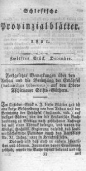 Schlesische Provinzialblätter, 1821, 74. Bd., 12. St.: December