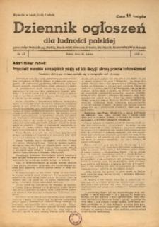 Dziennik Ogłoszeń Dla Ludności Polskiej, 1943, nr23