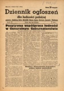 Dziennik Ogłoszeń Dla Ludności Polskiej, 1943, nr87