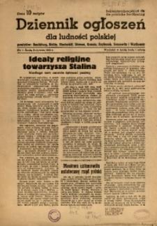Dziennik Ogłoszeń Dla Ludności Polskiej, 1945, nr1