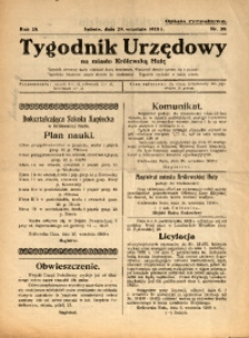 Tygodnik Urzędowy na Miasto Królewską Hutę, 1928, nr 39