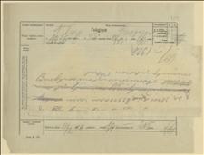 Telegram do Głównego Komitetu Plebiscytowego Spisko-Orawskiego w Nowym Targu w sprawie nabycia 30 tys. koron czeskich dla komitetu i rachunku za buty, Cieszyn, 11.02.1920 r.
