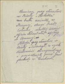 Notatka o działalności proczeskiej Holeksy, urzędnika w starostwie w Białej, oraz jego braci z Brennej