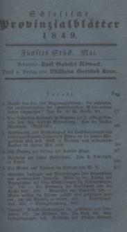 Schlesische Provinzialblätter, 1849, 129. Bd., 5. St.: Mai