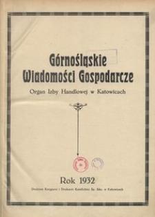 Górnośląskie Wiadomości Gospodarcze, 1932, R. 9, Spis rzeczy