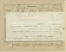 Telegram ks. Dominika Ściskały do Komitetu Plebiscytowego w Radomiu w sprawie strajku radomskiego, Cieszyn, 12.03.1920 r.