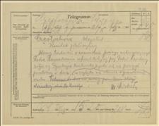 Telegram ks. Dominika Ściskały do Komitetu Plebiscytowego w Częstochowie w sprawie braku dodatkowych pociągów na wiec do Częstochowy, Cieszyn, 21.03.1920 r.