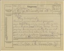 Telegram ks. Dominika Ściskały do Głównego Komitetu Plebiscytowego w Bytomiu, w sprawie nawiązania bliższych kontaktów, Cieszyn, 21.03.1920 r.