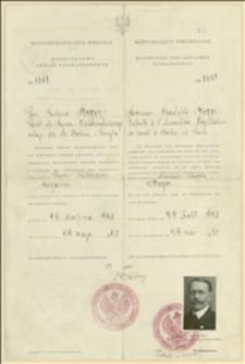 Paszport Tadeusza Regera na podróż do Berlina i Paryża, ważny do 29.08.1920 r.