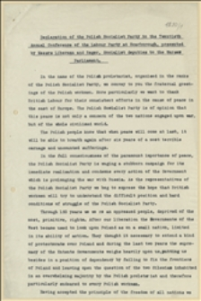 Declaration of the Polish Socialist Party of the twentieth Annual Conference of the Labour Party at Scarborough, presented by Messrs Liberman and Reger, SOcialist deputies to the Warsaw Parliament
