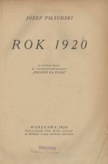 """Rok 1920. Z powodu pracy M. Tuchaczewskiego """"Pochód za Wisłę"""""""