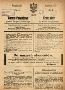Gazeta Powiatowa Powiatu Świętochłowickiego, 1925, nr 1