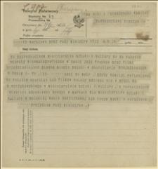 Telegram Prezydium Rady Ministrów do Głównego Komitetu Plebiscytowego w Cieszynie w sprawie kupna aparatów kinematograficznych, Warszawa, 17.02.1920 r.